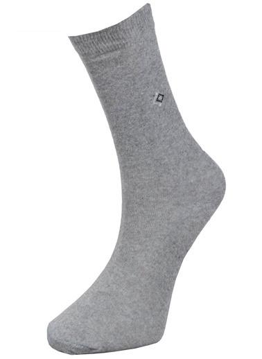 Pemilo 10 Çift  Erkek Desenli Penye Soket Çorap SİYAH Gri